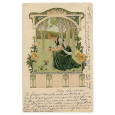 Springtime by Elisabeth Sonrel Mailed 1904 Paris Art Nouveau