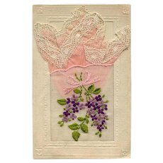 Lacy Pink Handkerchief in Embroidered Pocket Novelty French Postcard 1918