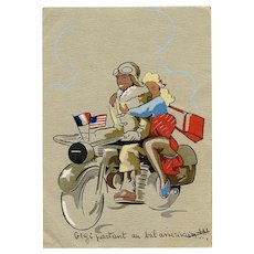 Gigi with American Soldier on Motorcycle Vintage French WWII Postcard