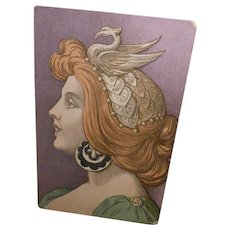 Art Nouveau Brunette with Exotic Headpiece 1907 French Postcard