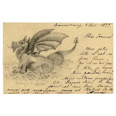 Dragon of Minerve Hand-made Art Postcard 1899
