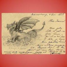 Dragon of Minerve Hand-made Art Postcard 1899