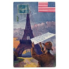 Eiffel Tower Sending Wireless US Flag with Soldier Souvenir Postcard