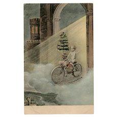 Angel on Bicycle with Christmas Tree Unused Pre-1904 Postcard