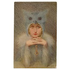 Night Bird Owl Lady Artist Signed Rousselet Unused Antique French Postcard