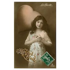 Heart full of Charity Hand-Detailed Antique European Postcard