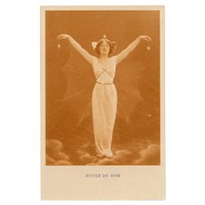 Evening Star Art Nouveau Lady with Wings Pre-1904 French Postcard Unused