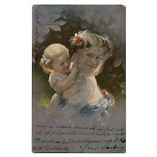 Veiled Mother with Blonde Toddler Antique Postcard with Writing under Stamp