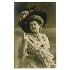 Bejewelled Real Photo Novelty Postcard Edwardian Lady with Hat and Parasol