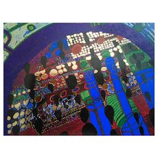Rainy Day on the Regentag Gold Foil 1977 Art Postcard by Hundertwasser