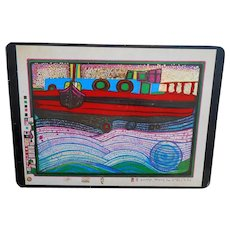 Regentag on Waves of Love 1977 Hundertwasser Foil Art Postcard