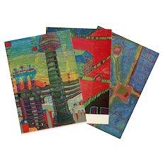 Three Vintage Unused Postcards by Austrian Artist Hundertwasser