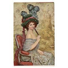 Lady with a Fan by Faivre Lapina of Paris Antique Art Postcard