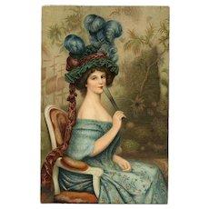 Femme  à l'Éventail by French Artist Faivre Unused Stengel Postcard