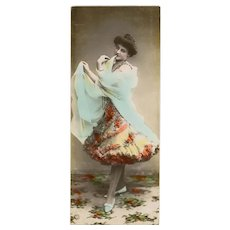 NPG Real Photo Bookmark Postcard Cancan Dancer 1906 Bordeaux