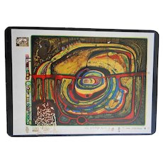 Eyebalance Number Five 1977 Gold Foil Art Postcard by Hundertwasser
