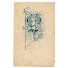 Mucha Style Art Nouveau Woman and Flowers Unused pre-1904 Postcard