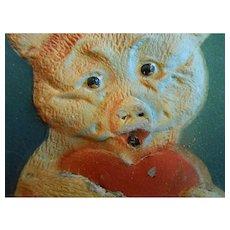 3-D Teddy Bear Holding Heart Antique German Sound Postcard