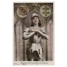 1909 Joan of Arc in Armour Hand-painted French Postcard