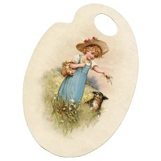 Artist Palette Die Cut Child with Dog French Musical Notations Verso