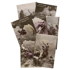 Seven Days of Creation Mastroianni Sculptochrome Postcards 1912 Unused Hand-painted