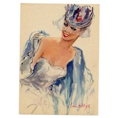 "1950s French Fashion Beauty in Blue ""Parisienne"" Postcard by Vincente Cristellys"