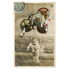 Baby and Hand-painted Balloons 1906 French Edwardian Postcard