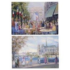Notre Dame and Arc de Triomphe by French Artist Sophie Strouvé