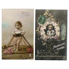 Baby Time and Toddler Two French Holiday Antique Postcards