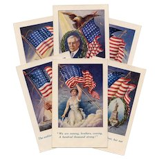Six WWI Patriotic Postcards Woodrow Wilson U.S. Flag Printed in Britain