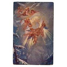 Angelic Christmas Gifts Czech Artist Antique Postcard