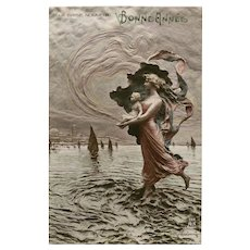 New Year by Mastroianni Art Nouveau Lady and Babe Walking on Water 1912 Postcard
