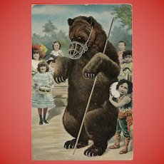 Bear with Toddlers Antique German Postcard