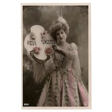 Costumed Lady in Pink Antique French Real Photo Postcard