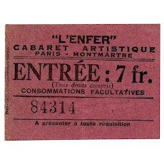 Paris L'Enfer Cabaret of Hell Ticket circa 1938
