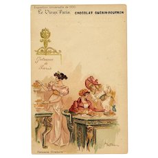 Guerin-Boutron Chocolate Advertising Postcard Cakes of Paris 1900 Expo Artist Signed