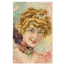 Parisian Belle Epoque Woman by Tamagno French Advertising Postcard