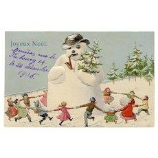 Children Dancing Around Snowman 1906 French Swiss Christmas Postcard