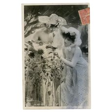 Black and White Traut Photo Postcard of Two Women with Sunflowers