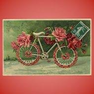 Embossed Bicycle of Roses Antique European Postcard
