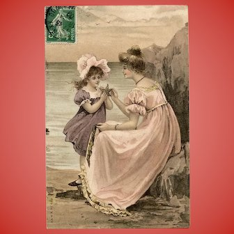 Starfish Beach Scene with Mother and Daughter Antique European Postcard