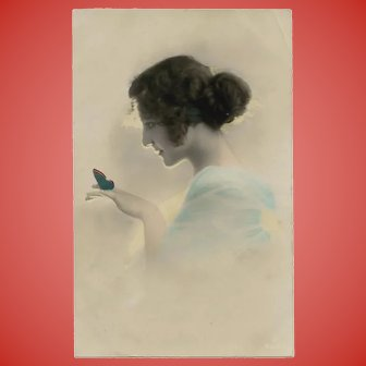 Glowing Woman with Butterfly Unused Antique European Postcard
