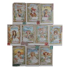 Gold Leaf Language of Flowers French Series of 10 Postcards