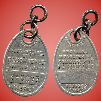 Vintage French Dog Tag with Number