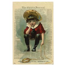 Crying Boy in Red Julius Bien Lithographic Antique Postcard Unused