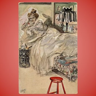 Wiesse Dame by Knut Hansen Tuck's Oilette Postcard Advertising Dutch Mustard