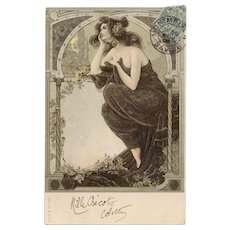 Neoclassical Beauty Art Nouveau 1905 European Postcard with Gold Detailing