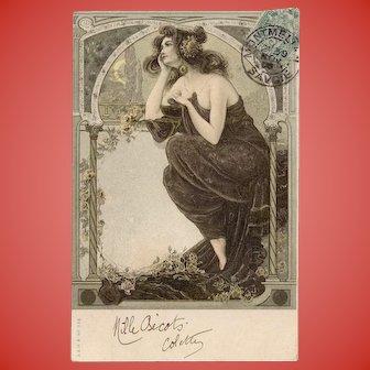 Neoclassical Beauty Art Nouveau 1905 European Postcard with Gold Detailing