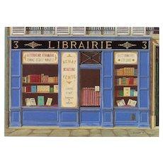 Bookshop in Periwinkle Vintage Paris Par Les Peintres Postcard Artist Signed
