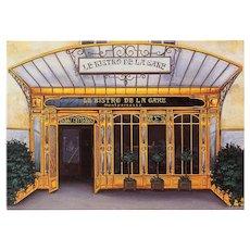 Art Nouveau Paris Bistro Vintage French Postcard by Fernando de Cunha